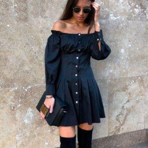 Заказать женское платье на кнопках черного цвета больших размеров дешево