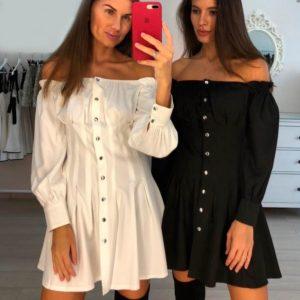 Приобрести женское платье на кнопках белого цвета больших размеров недорого