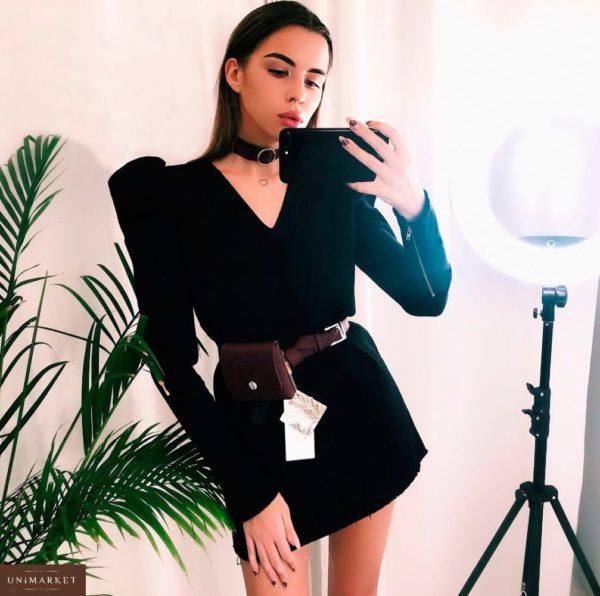 Заказать женское платье с поясом-сумкой черного цвета больших размеров недорого в подарок