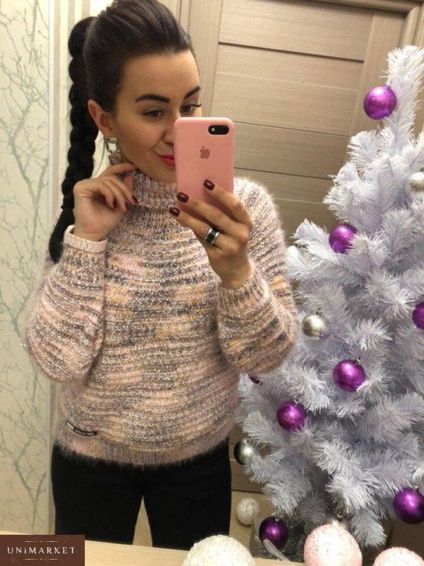 Купить в интернет-магазине женский свитер с высоким горлышком цвета пудры дешево