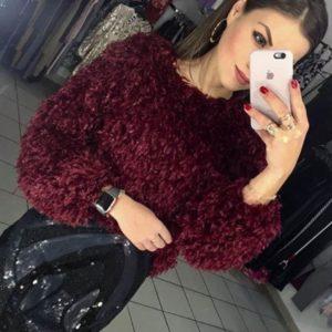Заказать женский шикарный свитер травку бордового цвета оптом Украина
