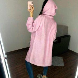 Купить женский кардиган с капюшоном и карманами дешево розового цвета
