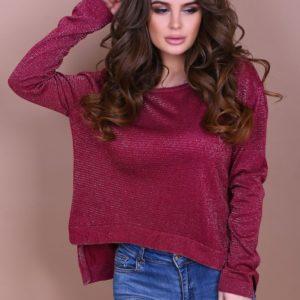 Купить женский бордовый теплый джемпер дешево в подарок