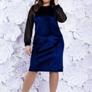 Приобрести женское бархатное вечернее платье темно-синего цвета больших размеров недорого