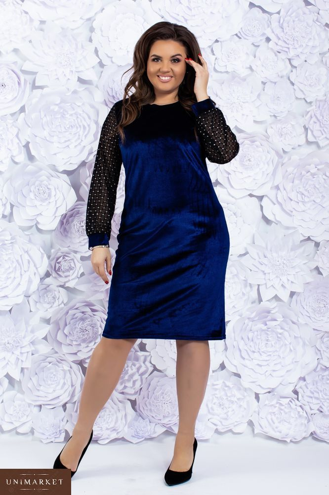 f6f80940a9d Приобрести женское бархатное вечернее платье темно-синего цвета больших  размеров недорого