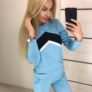 Приобрести женский спортивный костюм стрелку больших размеров голубого цвета недорого