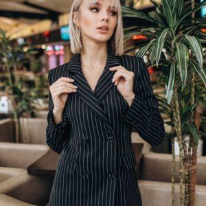 Купить женский двубортный пиджак с шелковой подкладкой черного цвета оптом Украина