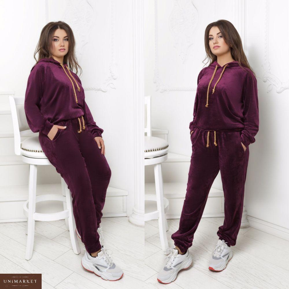 7645846cddc7 Купить женский бархатный спортивный костюм большого размера цвета вишни  оптом Украина