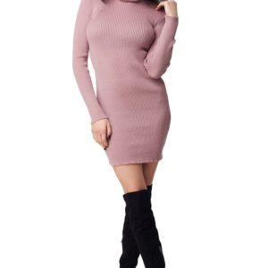 Купить женское платье - гольф дешево цвета пудры в подарок