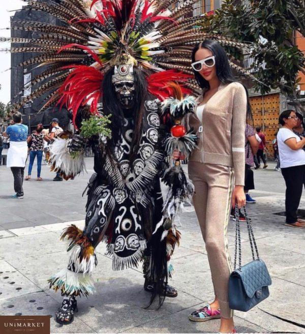 Купить недорого женский прогулочный костюм с люрексом kenzo цвета пудры в подарок