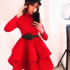 Купить недорого женское пышное платье юбку на регилине красного цвета
