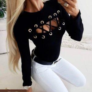 Приобрести женскую черную кофту со шнуровкой на груди дешево