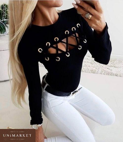 d833a7416e6 Женская Черная кофта со шнуровкой на груди купить в онлайн магазине ...