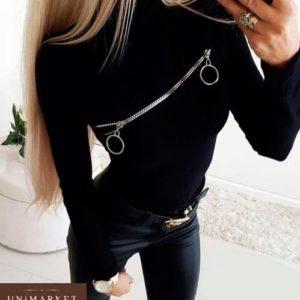 Заказать дешево женскую черную кофту с двухсторонней змейкой оптом