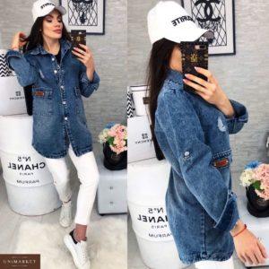 Заказать женский джинсовый кардиган с принтом синего цвета больших размеров в подарок