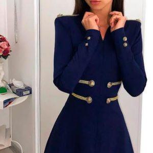Заказать темно-синеее платье с пуговицами спереди и на рукавах женское в подарок