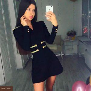 Купить недорого женское платье с пуговицами спереди и на рукавах черного цвета