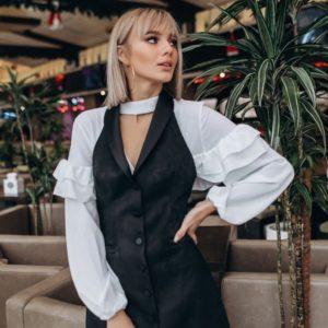 Заказать женскую белую блузку с пышными рукавами дешево Украина
