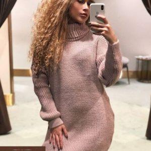 Заказать оверсайз платье тунику женскую цвета пудры недорого