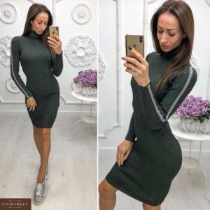 Приобрести женское платье гольф из люрекса с лампасами цвета хаки недорого