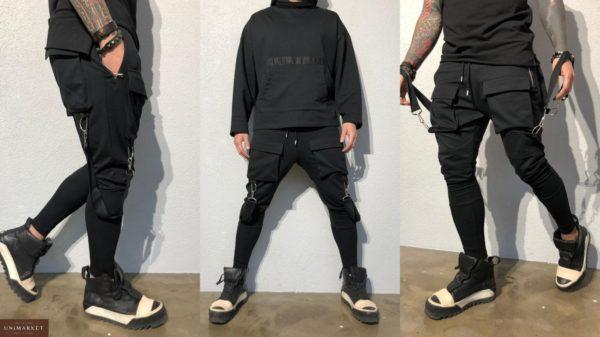 Заказать в интернет-магазине мужские спортивные штаны зауженные больших размеров черного цвета дешево