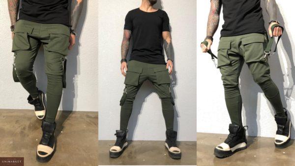Приобрести спортивные мужские штаны цвета хаки зауженные больших размеров недорого