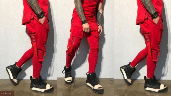 Купить мужские спортивные штаны больших размеров зауженные красного цвета в подарок