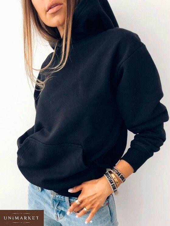 Заказать женский батник с капюшоном черного цвета в подарок недорого