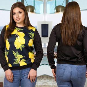 Заказать женский cвитшот с лимонным принтом большого размера черного цвета недорого