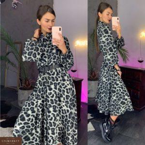 Купить в интернет-магазине платье с леопардовым принтом миди женское дешево