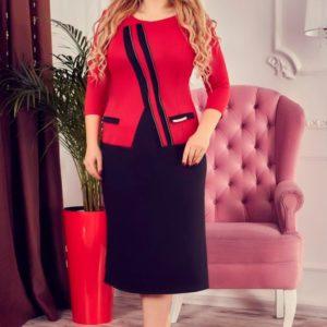 Купить в интернет-магазине платье миди большого размера женское дешево красного цвета