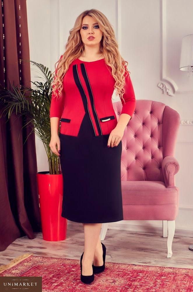 76fa86d89c9efd Купити в інтернет-магазині плаття міді великого розміру жіноче дешево  червоного кольору