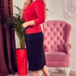 Заказать женское платье миди большого размера недорого красного цвета в подарок