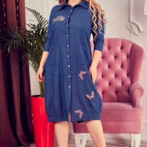 Купить недорого женское платье - рубашка большого размера синего цвета в подарок