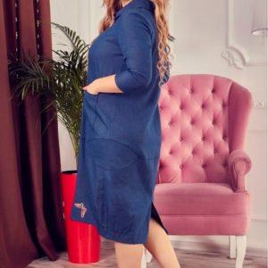 Приобрести женское платье - рубашка синего цвета больших размеров дешево