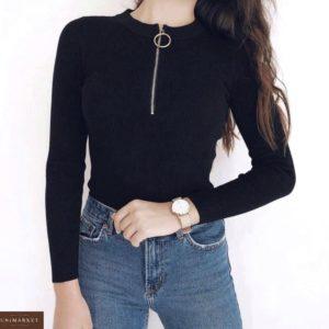 Заказать дешево женскую кофту с молнией из трикотажа в рубчик черного цвета оптом