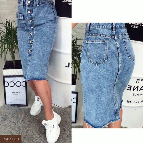 Заказать женскую джинсовую юбку миди с пуговицами голубого цвета в подарок