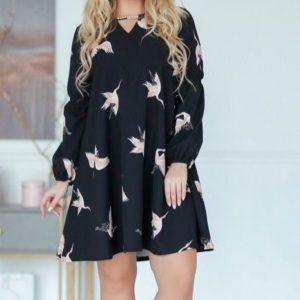 Приобрести черное женское платье с птицами большого размера недорого