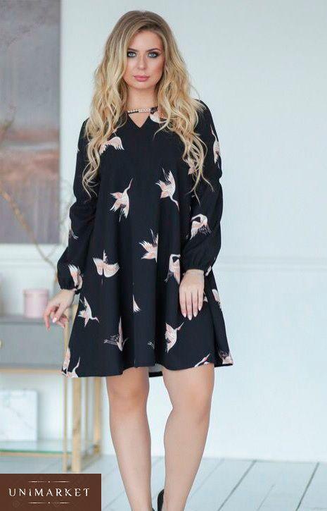 00e58e4085d Женское Черное платье с птицами большого размера купить в онлайн ...