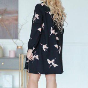 Заказать женское черное платье с птицами большого размера в подарок