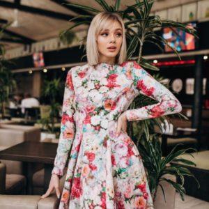 Заказать женское платье с принтом цветочным подарок недорого