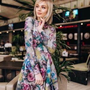 Приобрести платье с цветочным принтом женское дешево