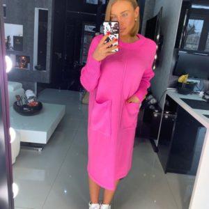 Заказать женское платье с карманами из хлопка большого размера розового цвета в подарок