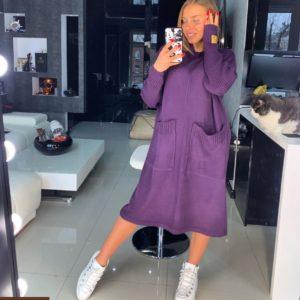 Приобрести женское платье сиреневого цввета из хлопка с карманами большого размера дешево