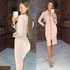 Заказать бежевое платье - футляр миди на змейке женское из экозамша оптом Украина