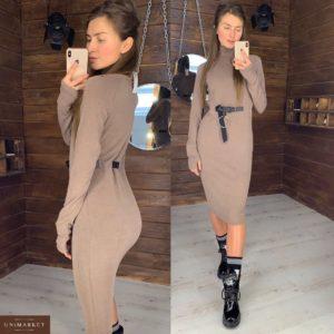 Купить недорого женское платье с поясом ангоровое цвета мокко