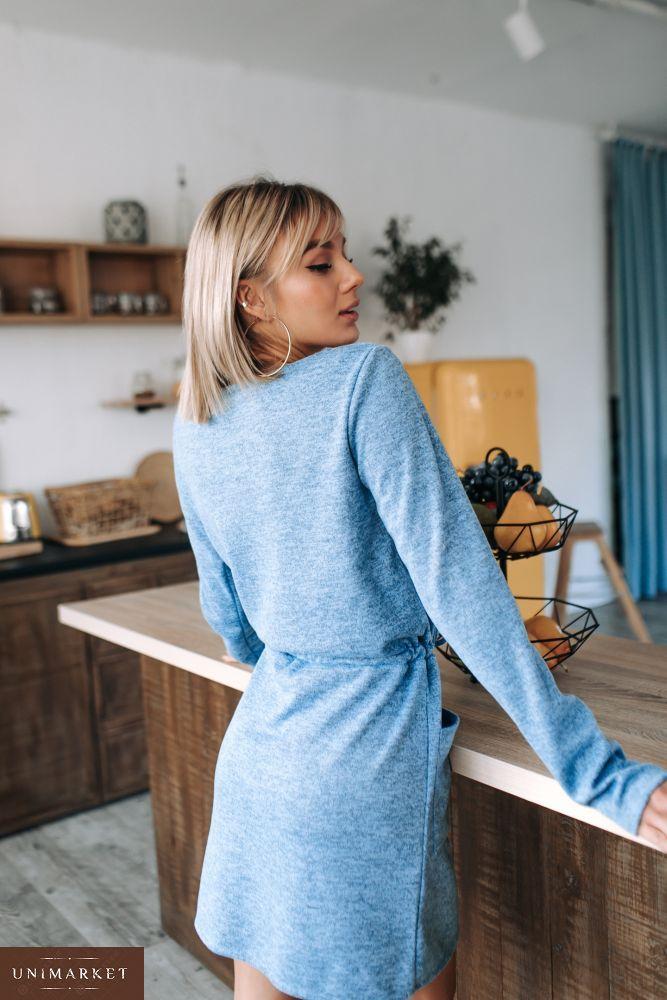 d5b02fb2451bb7 Придбати недорого жіноче блакитне плаття з ангори з кишенями оптом · Купити  жіночу сукню ...