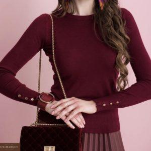 Приобрести женскую кофту на рукавах с пуговицами бордового цвета дешево