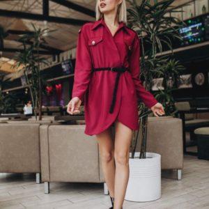 Купить недорого женское платье - рубашка с поясом в подарок бежевого цвета