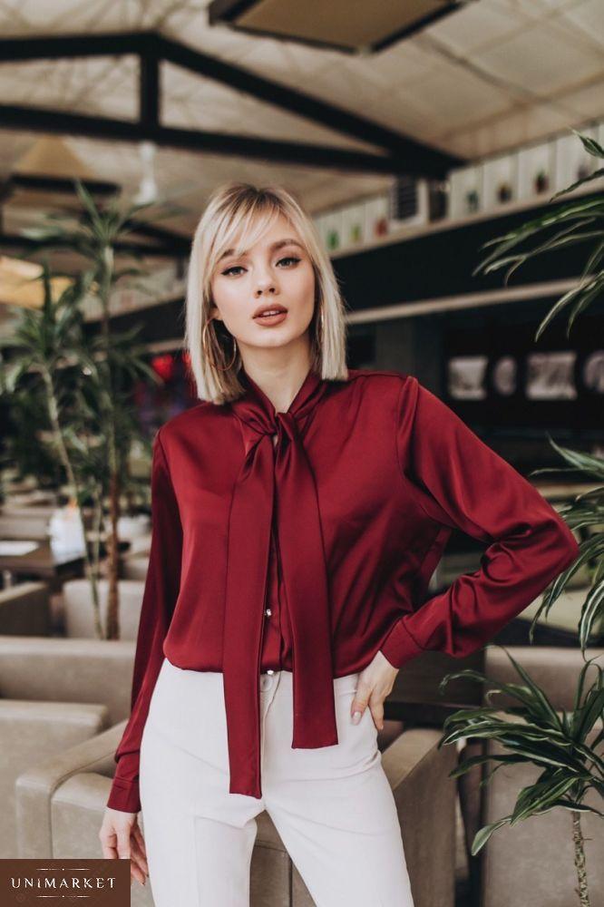 0ab51690738 Жіноча Бордова шовкова блузка з довгим рукавом купити в онлайн ...